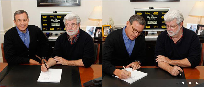 "George Lucas and Disney head Bob Iger podspisyvayut deal | The Walt Disney Company bought the rights to Lucasfilm and the saga ""Star Wars» 