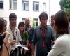 Director, producer Valery Todorovsky answers the questions after master class. Odessa film festival. Summer 2011