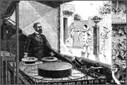 July 20, 1877 in France, Emile Reynaud shows in Paris Museum Grevin first video tape using praksinoskopa